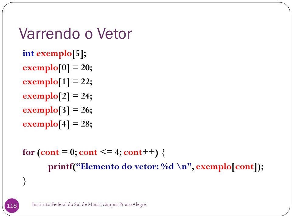 Varrendo o Vetor int exemplo[5]; exemplo[0] = 20; exemplo[1] = 22;
